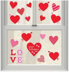 Valentine's Day Window Cling Decals, 20ct