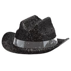 Black Glitter Mini Cowboy Hat