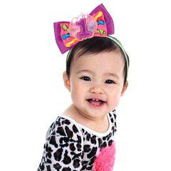 1st Birthday Rainbow Bow Headband