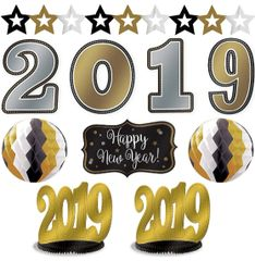 """2019"" Black, Gold & Silver New Year's Room Decorating Kit, 10pc"