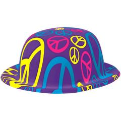 60's Bowler Hat - Peace Sign