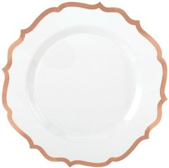 """White Rose Gold-Trimmed Ornate Premium Dinner Plates, 10 1/2"""" - 10ct"""