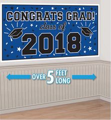 """2018"" Blue Grad 2018 Horizontal Banner"