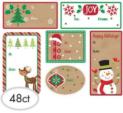 Christmas Adhesive Gift Tags, 48ct