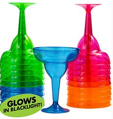 Big Party Pack Black Light Neon Margarita Glasses, 20ct