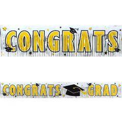 Yellow Grad Metallic Fringe Banner
