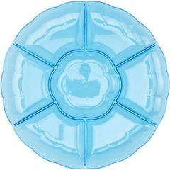 Blue Plastic Scalloped Sectional Platter