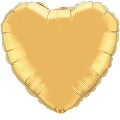 Heart 04 Metallic Gold Mylar Balloon 18in