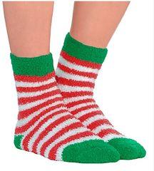 Christmas Stripe Fuzzy Crew Socks