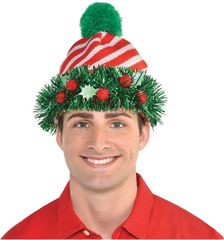 Christmas Knit Beanie Embellished w/Tinsel Wreath