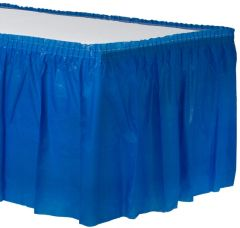 """Bright Royal Blue Solid Plastic Table Skirt, 14' x 29"""""""