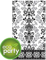 Black & Silver Ornate Damask ECO Guest Towels