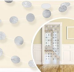 Glitter Silver Polka Dot String Decorations, 6ct