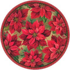 "Holiday Poinsettia Round Plates, 7"""
