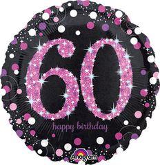 "Pink Sparkling 60th Birthday Celebration Balloon 18"""