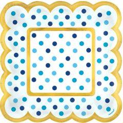 Blue Polka Dot Scalloped Appetizer Plates, 36ct