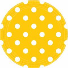 "Yellow Sunshine Polka Dots Round Plates, 9"""