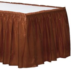 """Chocolate Brown Solid Color Plastic Table Skirt, 14' x 29"""""""