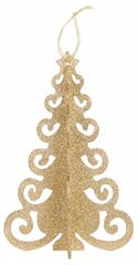 Gold Glitter 3D Tree Decoration