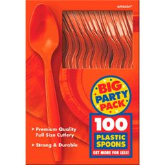 Big Party Pack Orange Peel Plastic Spoons, 100ct