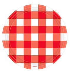 American Summer Red Gingham Round Plates, 7""