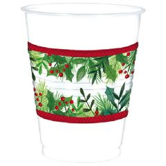 Holly Plastic Cups, 16 oz.