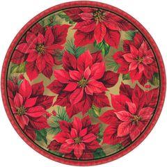 "Holiday Poinsettia Round Plates, 12"""