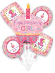 Sweet Little Cupcake Girl's Super Shape Balloon Bouquet 36""