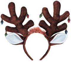 Moose Antlers Headband w/ Light Bulb Ornaments