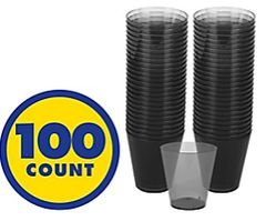 Big Party Pack Black Plastic Shot Glasses, 100ct