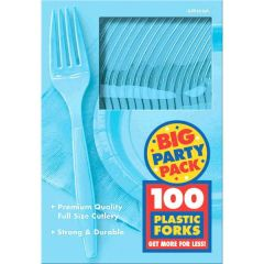 Big Party Pack Caribbean Blue Plastic Forks, 100ct