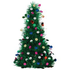 Tinsel Tree Centerpiece w/ Ornaments