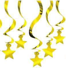 Gold Star Swirl Decorations, 30ct