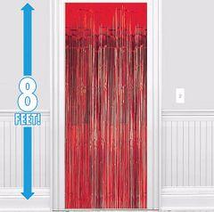 Apple Red Metallic Doorway Curtain