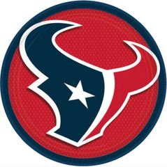 """Houston Texans 9"""" Round Plates, 8ct"""