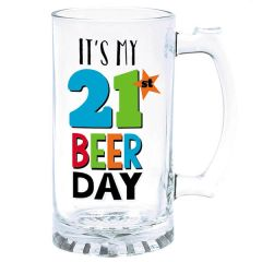 21st Brilliant Birthday Glass Beer Tankard