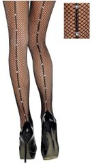 Black Crystal Back Seam Fishnet Stockings - Adult Standard