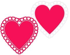 Glossy Paper Lace Heart Silhouette