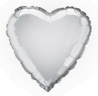 Heart 03 Metallic Silver Mylar Balloon 18in