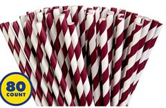 Berry Striped Paper Straws, 80ct
