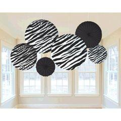 Zebra Print Hanging Fan Assortment 6ct