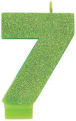 #7 Glitter Kiwi Green Number 7 Birthday Candle