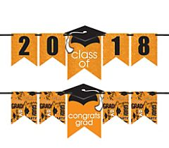 """2016-2019"" Grad Personalized Glitter Letter Banner Kit - Orange"
