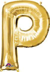 """Gold Letter P - 34"""" Mylar"""