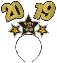 """2019"" New Year's Black, Gold & Silver Head Bopper"