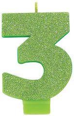 #3 Glitter Kiwi Green Number 3 Birthday Candle