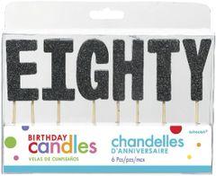 "80 ""E-I-G-H-T-Y"" Black Glitter Candles"
