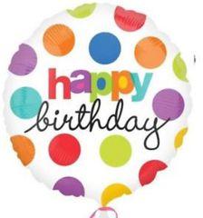 "Polka Dot Birthday Balloon 18"""