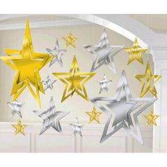 3-D Foil Star Silver Gold Decorating Kit