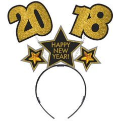 """2018"" New Year's Black, Silver, Gold Glitter Cardboard Bopper"